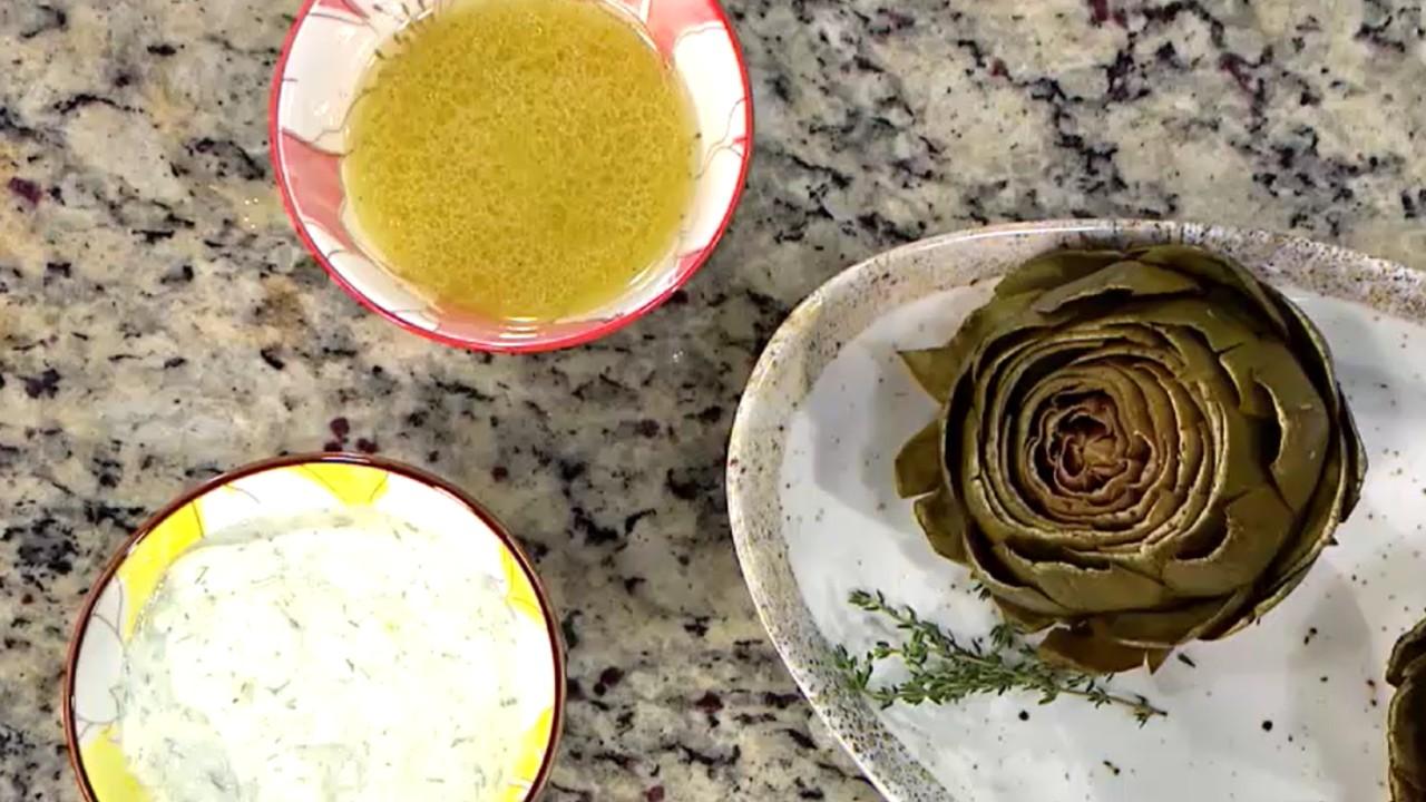 alcachofas y salsas